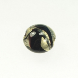 Exposed Gold Lentil Black, White Gold, Size 17mm