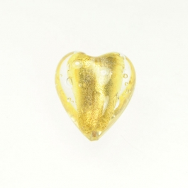 Large Foil Heart Crystal/Yellow Gold, Size 21mm