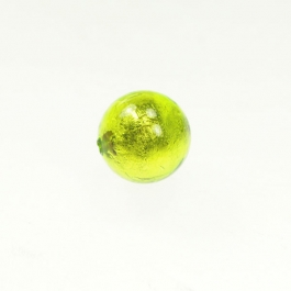 14mm Foil Round Lime/White Gold, Size 14mm