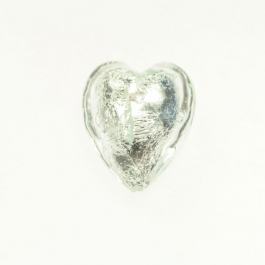 Large Foil Heart Crystal/Silver Foil, Size 21mm