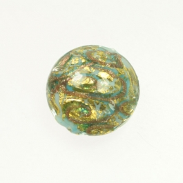24 kt. Aventurina Swirl Disc Turquoise, Yellow Gold, Size 21mm