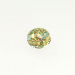 24 kt Aventurina Swirl Lentil Turquoise, Yellow Gold, Size 12mm