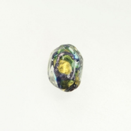 Small Aventurina Swirl Nugget Aqua w/ Blue Aventurina, 24kt Yellow Gold, Size 18mm