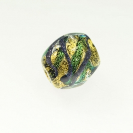 Large Aventurina Swirl Nugget Aqua w/ Blue Aventurina, 24kt Yellow Gold, Size approx. 15x24mm