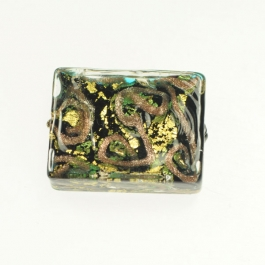 24 kt Aventurina Swirl Rectangle Aqua, Yellow Gold, Size 25mm x 18mm
