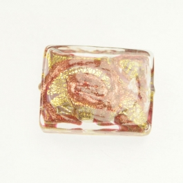 24 kt Aventurina Swirl Rectangle Rubino, Yellow Gold, Size 25mm x 18mm