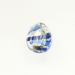 Small Aventurina Swirl Nugget Blue w/ Blue Aventurina, White Gold, Size 18mm