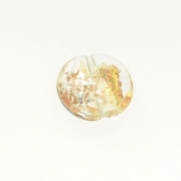 Luna Disc Crystal/Aventurina/Yellow Gold/Silver Foil, Size 18mm