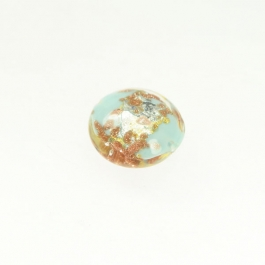 Luna Disc Turquoise/Aventurina/Yellow Gold/Silver Foil, Size 18mm