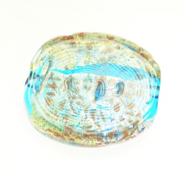 Luna Flat Oval Aqua/White & Yellow Gold, Aventurina, Size 35mm