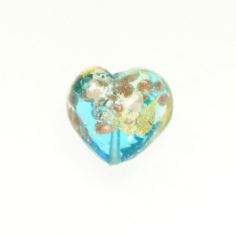 Luna Heart Luna Heart - Aqua/White & Yellow Gold, Aventurina,  Size 21mm