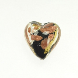 Luna Heart Luna Heart - Black/White & Yellow Gold, Aventurina, Size 21mm