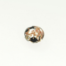 Luna Lentil Black, Yellow Gold & Silver Foil/Aventurina, Size 12mm