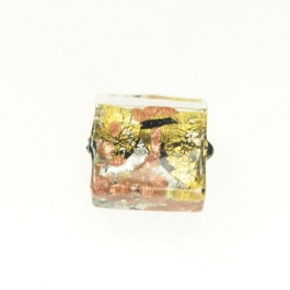 Small Luna Square Black/White & Yellow Gold, Aventurina, Size 15mm