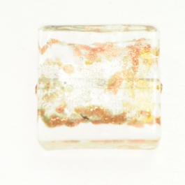 Small Luna Square Crystal/White & Yellow Gold, Aventurina, Size 15mm