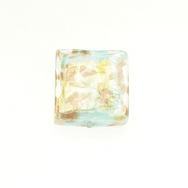 Small Luna Square Turquoise/White & Yellow Gold, Aventurina, Size 15mm