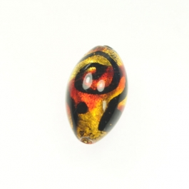Peacock Oval Red, 24kt Yellow Gold, Size 25mm