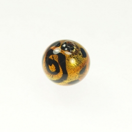 Peacock Round Red, 24kt Yellow Gold, Size 12mm
