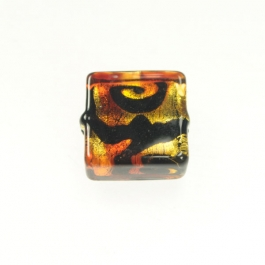 Peacock Square Red, 24kt Yellow Gold, Size 15mm
