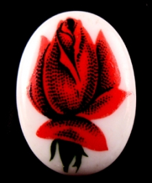 18x13mm Red Rose Porcelain Painting Cameo - Pack of 1