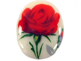 25x18mm Red Rose Decal Porcelain Painting Cameo - Pack of 1
