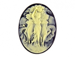40x30mm Oval Black And Ivory Fashion Cameo Three Dancing Graces