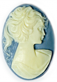 40x30mm Oval Fashion Cameo Lady in Blue