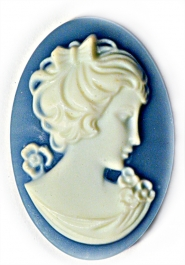 25x18mm Oval Fashion Cameo Danielle Blue - Pack of 2