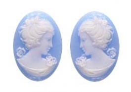 18x13mm Oval Fashion Blue Cameo Danielle - Pack of 4
