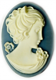40x30mm Oval Fashion Cameo Danielle Blue