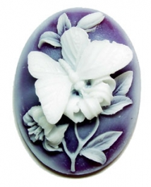 40x30mm Oval Fashion Cameo - Butterfly AND Lillies White on Amethyst