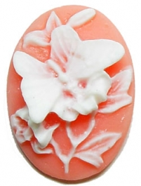 40x30mm Oval Fashion Cameo - Butterfly and Lillies