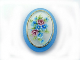 40x30mm Oval Fashion Cameo- Flower Bouquet on Blue