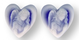 15mm Angel Cameo on Blue Heart- Pack of 2