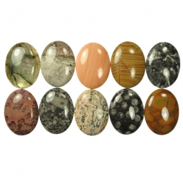 40X30mm Oval Gemstone Cabochon Mix - Pack of 10