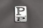 Pewter Alphabet Cubes 5.5MM W/4MM Hole - PW D 5.5MM Cube W/4MM Hole