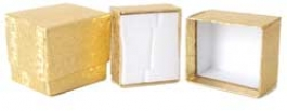 1 1/2 X 1 3/4 X 1 1/2 Inches Gold Ring Box - Pack of 3