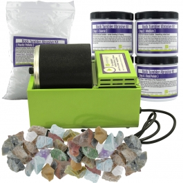 WireJewelry Single Barrel Rotary Rock Tumbler Deluxe Kit, Includes 3 Pounds of Rough Madagascar Stone Mix and 5 Batches of 4 Step Abrasive Grit and Polish