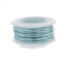 26 Gauge Round Silver Plated Baby Blue Copper Craft Wire - 90 ft