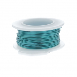 20 Gauge Round Silver Plated Peacock Blue Copper Craft Wire - 25 ft