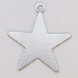 Nickel Silver Star with Ring, 24 Gauge, 1 Inch, Pack of 6